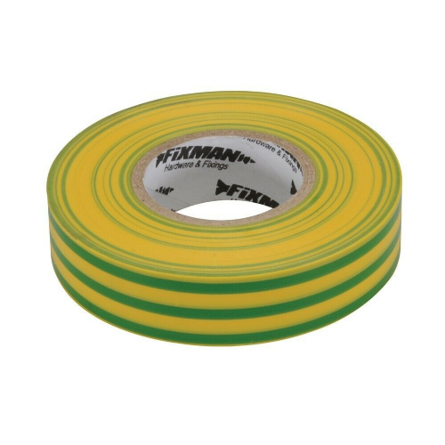 Fixman 192227 Electrical Insulation Tape 19mm x 33m Green / Yellow